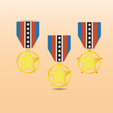 Star medal award with neck strap Royalty Free Stock Image