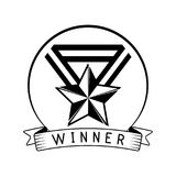 Star medal icon. Winner award badge. Trophy, Reward, Prize. Champions sign. Medal with star and ribbons. Vector. Star medal icon. Winner award badge. Trophy Royalty Free Stock Images