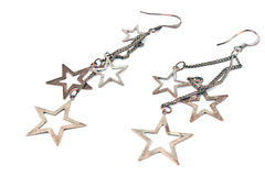 Star metal earrings Stock Image