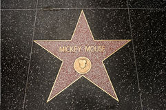 The star of Mickey Mouse. On the walk of fame on Hollywood blvd, Los Angeles, California Stock Image