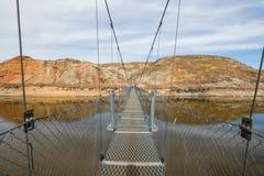 The Star Minuje zawieszenie most jest 117 metre zawieszenia d?ugim zwyczajnym mostem przez Czerwonych rogaczy rzek? w Drumheller, fotografia royalty free