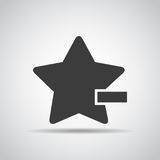 Star with minus icon with shadow on a gray background. Vector illustration Royalty Free Stock Photo