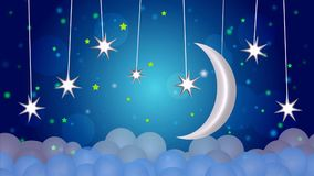 The Best blue sky night moon and star loop video background calming relaxing for lullabies