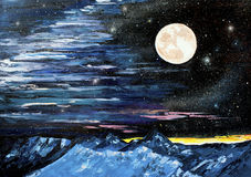 Star mountain Moon oil painting. Original oil painting on canvas of a beautiful stars mountain moon - Modern Art - Expressionism Stock Photography