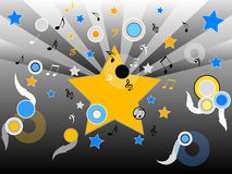 Star music. Stars,disc and musical notes Royalty Free Illustration