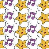 Star and music note kawaii character Royalty Free Stock Images