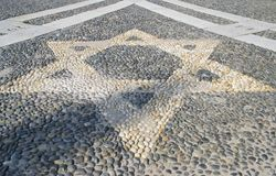 Star n the pavement - Vigevano's church Italy Stock Image