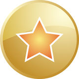 Star navigation icon. Glossy button, round shape Stock Photography