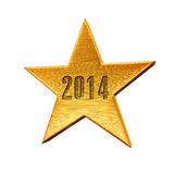 Star New Year. 2014 gold render (isolated on white and clipping path Stock Photos