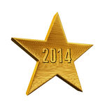 Star New Year. 2014 gold render (isolated on white and clipping path Stock Image