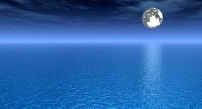 Star_Night. Moonlight night sky over sea - 3d scene Royalty Free Stock Photography
