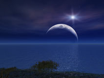 Star and Night Moon Over Sea. A Bright Star and Night Moon Over Sea Royalty Free Stock Photo