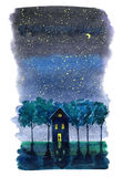 Star night with the moon postcard. Greeting card with house,trees and people.Watercolor hand drawn image Royalty Free Stock Photos