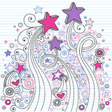 Star Notebook Doodles on Lined Paper. Vector Illustration of Hand-Drawn Notebook Doodle Stars and Swirls on Lined Paper Background Stock Photography