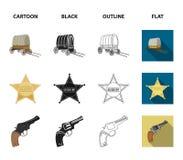 Star o xerife, potro, dinamite, bota de vaqueiro Ícones ajustados da coleção do oeste selvagem nos desenhos animados, preto, esbo Fotografia de Stock Royalty Free