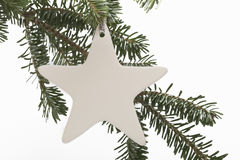 Star ornament on Christmas tree branch Stock Photo