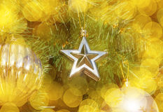Star ornament on Christmas tree Stock Photos