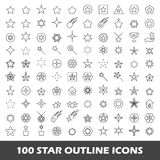 100 star outline icons. Mono vector symbols vector illustration