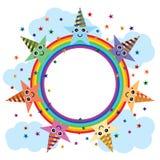 Star party hat cartoon rainbow template stock illustration