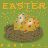 Star pattern on golden egg in net for Easter festival. Design greeting card for Easter Season Royalty Free Stock Images