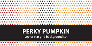 Star pattern set Perky Pumpkin. Vector seamless backgrounds. Red, peach, black, orange, pumpkin stars on white backdrops Stock Photos