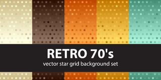 Star pattern set Retro 70s. Vector seamless backgrounds. Beige, brown, orange, yellow, green stars on gradient backdrops stock illustration
