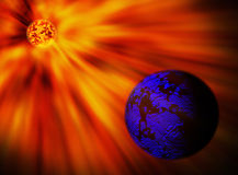Star and planet. Red star and blue planet - abstract Stock Image