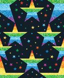Star point connect rainbow glitter seamless pattern. This illustration is design rainbow glitter star point connect with decoration colorful stars in seamless Stock Images