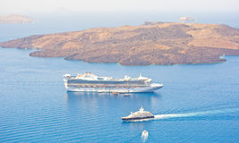 Star Princess anchored off Santorini. Stock Images