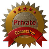 5 Star Private Connection. A 3D golden and red metallic seal with text Private and Connection Royalty Free Stock Images