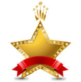 Star prize. Golden star prize with beilliants vector illustration