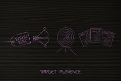 5 star product tag next to target and arrow and customer profile. Targeting the right audience conceptual marketing illustration: 5 star product tag next to Stock Photography