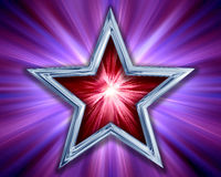 Star on purple background. Illustration of a red and silver star on a purple background Royalty Free Stock Image