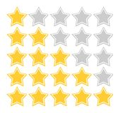 Star quality rating. Illustration of five star quality rating scheme, isolated on white background Stock Image