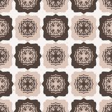 Star Quilt Folk Art Texture Seamless Vector Pattern. Hand Drawn Square Tiles. Background Illustration for Trendy Home Decor, 1970s Style Fashion Prints royalty free illustration