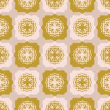 Star Quilt Folk Art Texture Seamless Vector Pattern. Hand Drawn Square. Tiles Background Illustration for Trendy Home Decor, 1970s Style Fashion Prints royalty free illustration