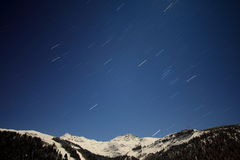 Star rain. Mountain, pure sky and stars falling Royalty Free Stock Photo