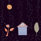 Star rain falls cute Hand written primitive small sign. Hand drawn postcard. Kids drawing. Vector. Illustration royalty free illustration