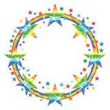 Star rainbow glitter circle line frame effect Stock Photos