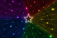 Star with rainbow rays. Coming from it Stock Image