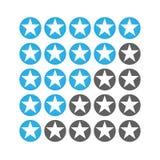Star raiting icons. Giving five stars raiting flat ldesign. vector illustration