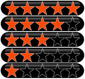 Star rating. Rating system with bright orange stars Royalty Free Stock Photography
