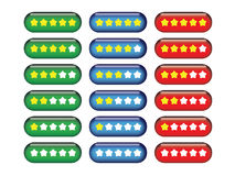 Star Rating Buttons. Collection of star rating gel buttons Royalty Free Stock Image