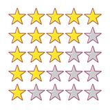 5 star rating. Collection of cartoon vector icons. Yellow stars for app, web or game. Feedback concept. Ranking system. Vector illustration on white background Stock Photography