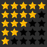 Star rating element. 5 point rating. Beveled, 3d star icons. Use Royalty Free Stock Images