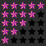 Star rating element. 5 point rating. Beveled, 3d star icons. Use Stock Photos
