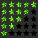 Star rating element. 5 point rating. Beveled, 3d star icons. Use Royalty Free Stock Photos