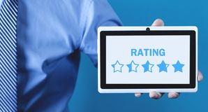 Star Rating. Evaluation and positive review stock photo