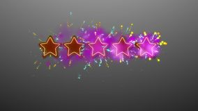 Star rating illustration with golden sparkles. Impressive 3d rendering of five brown and violet stars on the gray background with sparkling golden dots, spots royalty free illustration