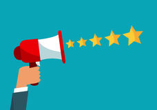 Star rating with a megaphone. Feedback concept. Vector Illustrat. Ion. Flat design Vector Illustration